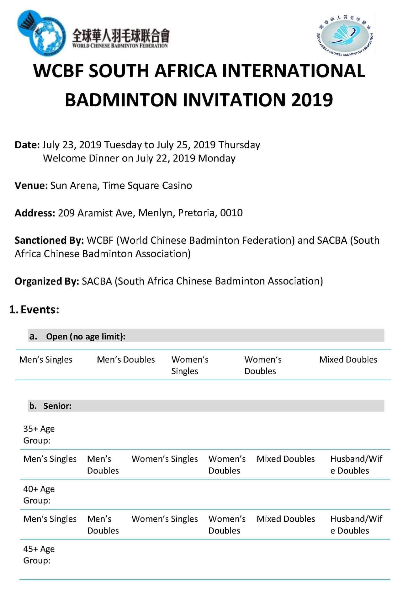 WCBF South African Internationals – Badminton Confederation